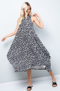 Leopard Print Handkerchief Dress - Black