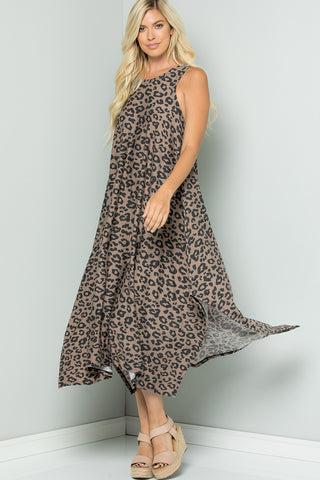 Leopard Print Handkerchief Dress - Brown