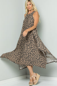 Leopard Print Handkerchief Dress - Mocha