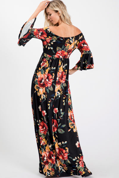 Off Shoulder Ruffled Sleeve Floral Print Maxi Dress - Black