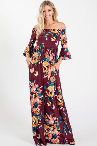 Off Shoulder Ruffled Sleeve Floral Print Maxi Dress - Burgundy
