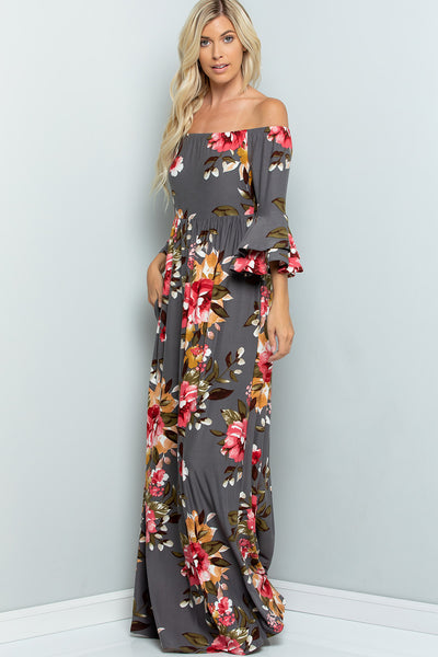 Off Shoulder Ruffled Sleeve Floral Print Maxi Dress - Grey