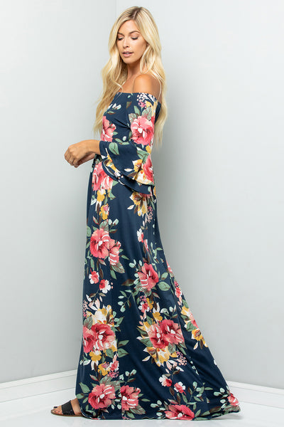 Off Shoulder Ruffled Sleeve Floral Print Maxi Dress - Navy
