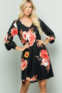 Bishop Sleeve Floral Dress - Black