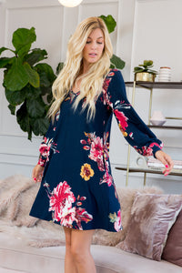 Bishop Sleeve Floral Dress - Navy