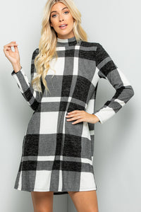 Mock Neck Buffalo Plaid Dress - Ivory/Black