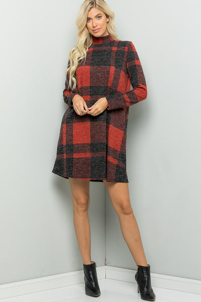 Mock Neck Buffalo Plaid Dress - Red/Black