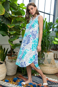 Sleeveless Tie-dyed Midi Dress - Aqua/Navy