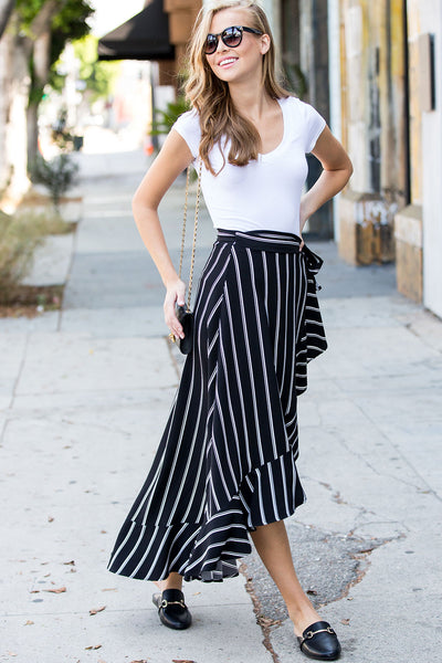 Stripe Ruffled Wrap Skirt -Black