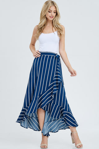 Stripe Ruffled Wrap Skirt - Teal