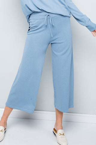 Knit Straight Leg Cropped Pants - Misty Blue