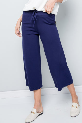 Knit Straight Leg Cropped Pants - Navy