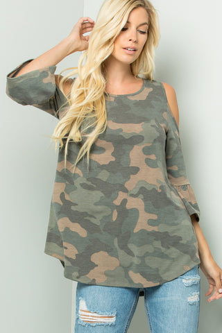 Camouflage Cold-Shoulder Top