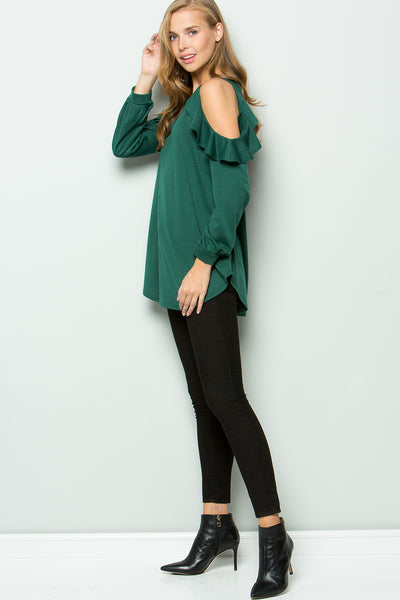 Ruffled Cold-Shoulder Top - Hunter Green