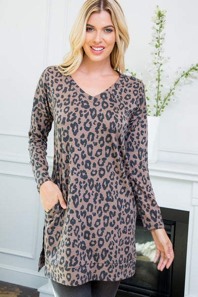 Leopard Print V-neck Tunic Top - Brown