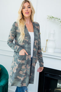 Camouflage Open Front Cardigan