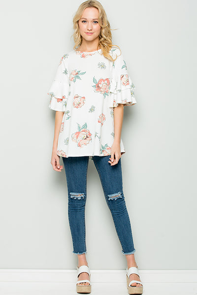 Floral Ruffle Tunic - Ivory