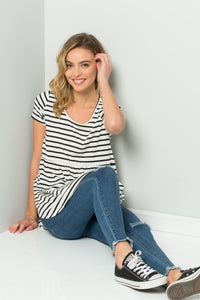 Striped Babydoll Tunic - Ivory/Black
