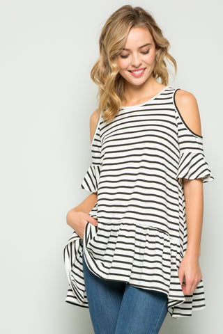 Striped Cold-Shoulder Ruffle Tunic - Ivory/Black