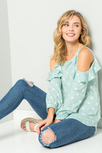 Polka Dot Cold-Shoulder Tunic - Mint