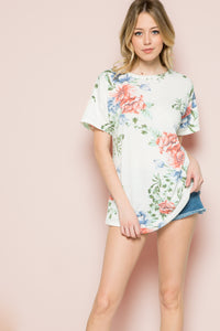 Floral French Terry Top - Ivory