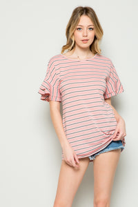 Striped Ruffle Top - Mauve