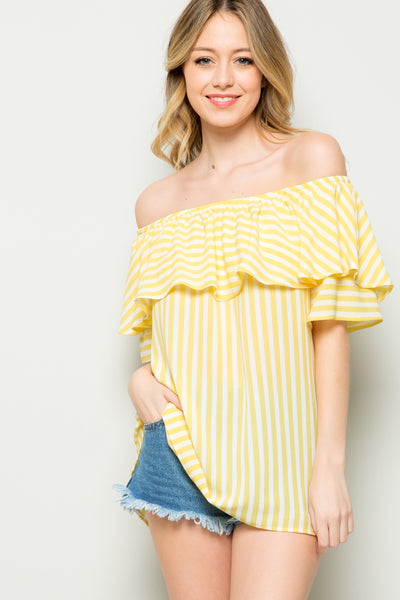 Ruffled Off-Shoulder Blouse Tunic
