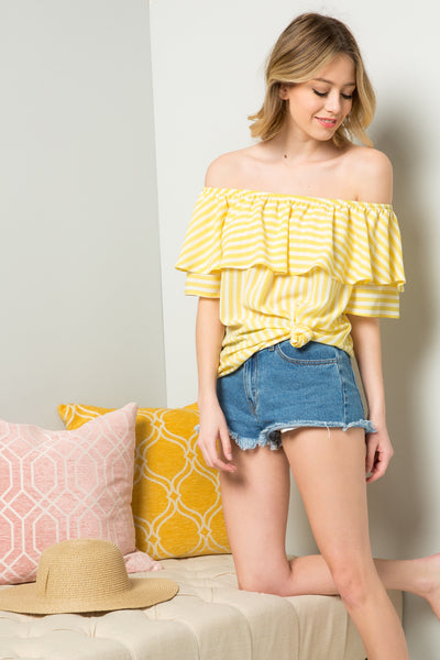 Ruffled Off-Shoulder Blouse Tunic - Yellow