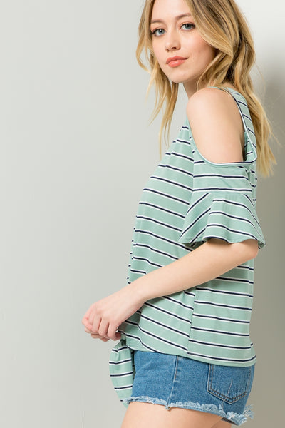 Stripe Knot Top - Mint