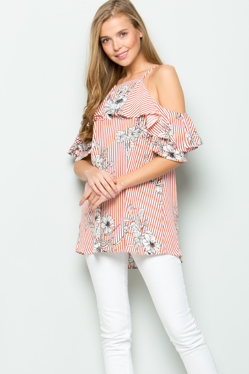 Floral+Stripe Ruffle Cold Shoulder Blouse - Red