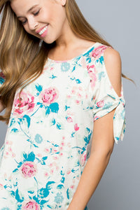 Floral Knotted Cold-Shoulder Tunic - Pink