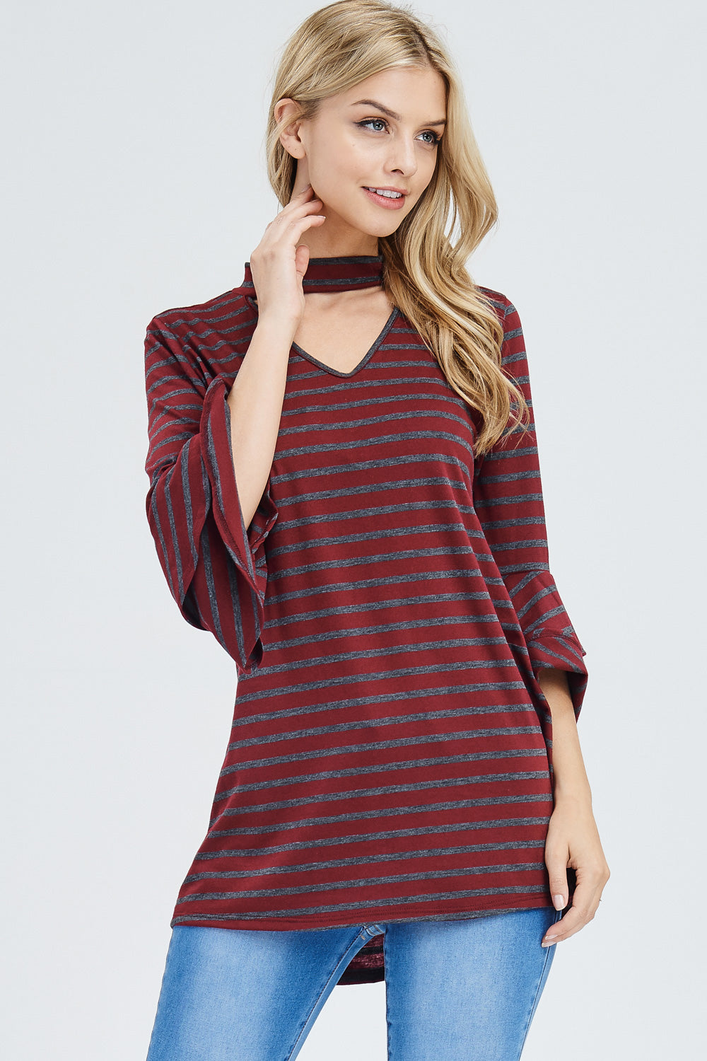 Stripe Choker Tunic - Burgundy