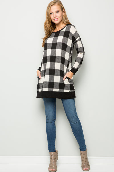 Plaid Tunic Top - Ivory/Black