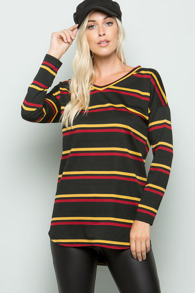 V-Neck Striped Top (3 colors)