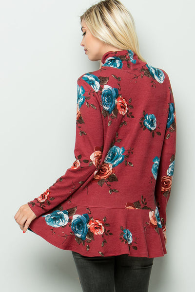 Turtleneck Floral Print Tunic Top (4 colors)
