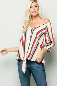 Multi Stripe Knotted Front hem Blouse - Rust