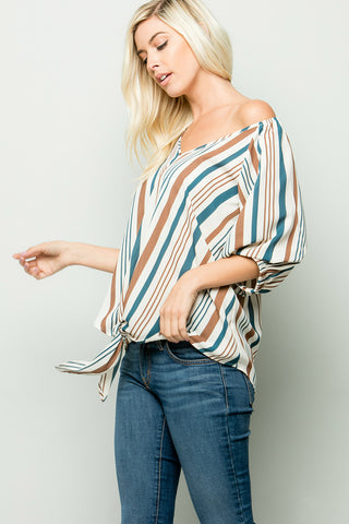 Multi Stripe Knotted Front hem Blouse - Teal