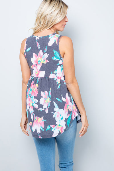 Floral Babydoll Sleeveless Tunic Top - Navy