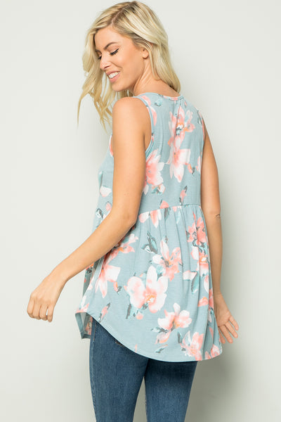Floral Babydoll Sleeveless Tunic Top - Blue