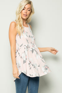 Floral Babydoll Sleeveless Tunic Top - Blush