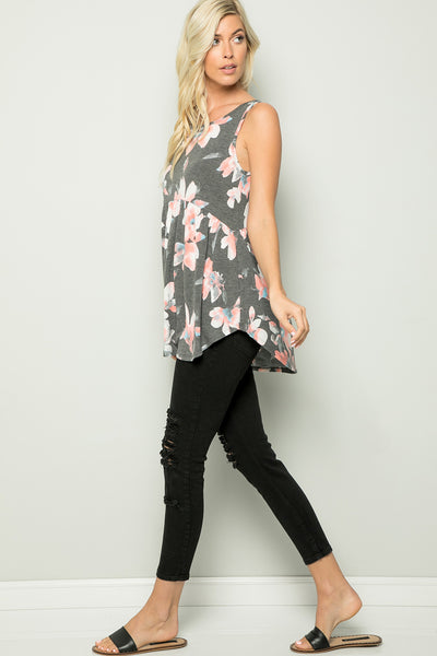 Floral Babydoll Sleeveless Tunic Top - Charcoal