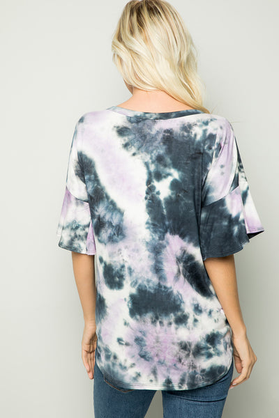 Tie-Dyed Knotted Front Top - Lavender mix