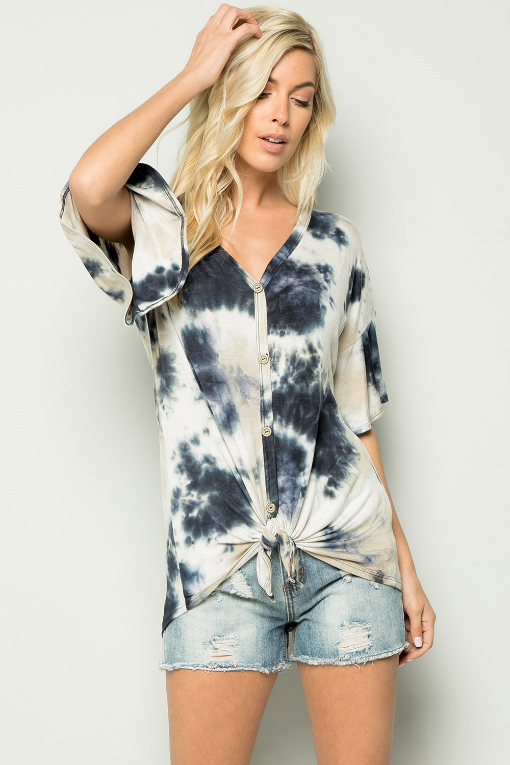 Tie-Dyed Knotted Front Top - Mocha mix