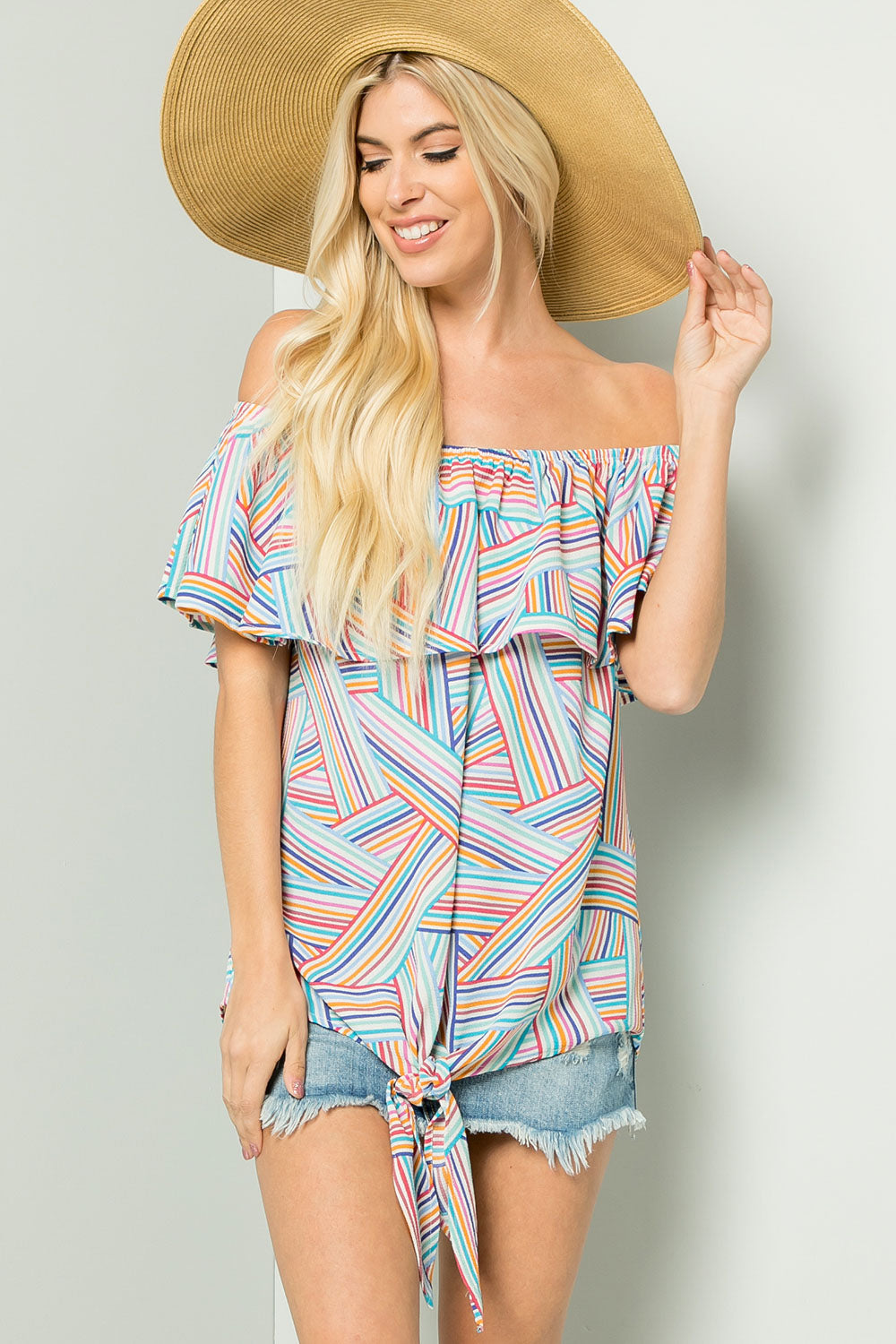 Geometric Ruffled Off shoulder Bluse - Fuchsia/Aqua