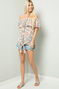 Geometric Ruffled Off shoulder Bluse - Orange/Taupe