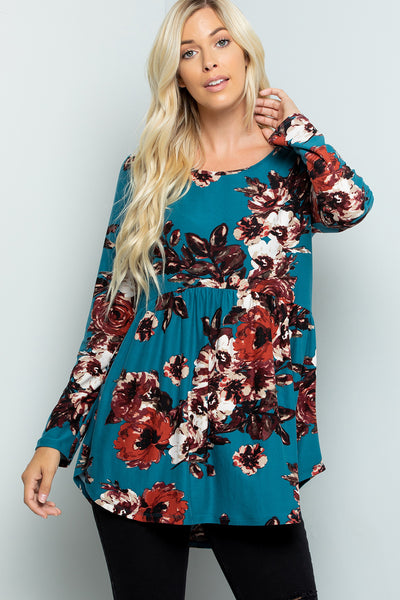 Floral Print Babydoll Tunic Top (5 colors)