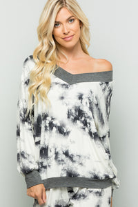 V-neck Tie Dye Print Loose Fit Top (2 colors)