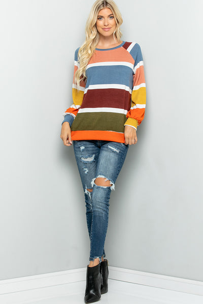 Colorful Striped Top - Blue/Orange