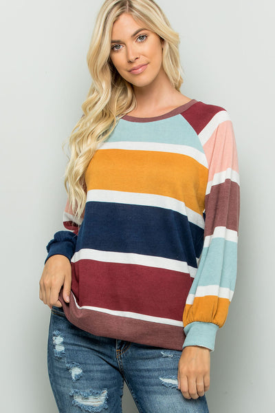 Colorful Striped Top - Navy/Burgundy