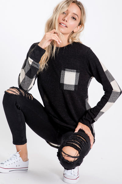 Solid and Plaid Color Blocked Top (2 colors)